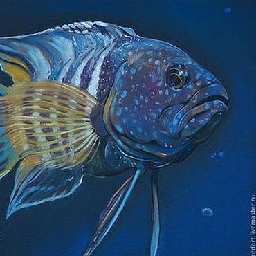 Картины и панно ручной работы. Ярмарка Мастеров - ручная работа Глубина (рыба). Handmade.