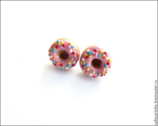 """Серьги ручной работы. Ярмарка Мастеров - ручная работа. Купить Серьги-гвоздики """"Пончики с розовой глазурью"""". Handmade. Розовый, пончики"""