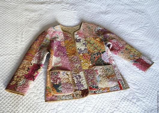 """Пиджаки, жакеты ручной работы. Ярмарка Мастеров - ручная работа. Купить Стеганый жакет """"Бали"""".. Handmade. Бежевый, двусторонний пиджак"""