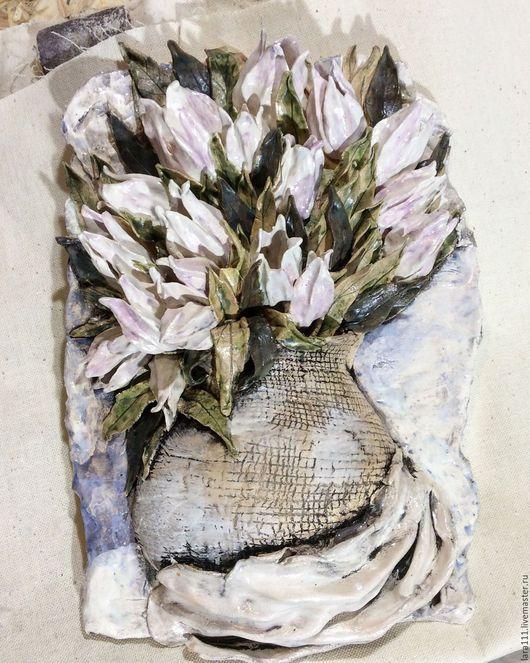 Картины цветов ручной работы. Ярмарка Мастеров - ручная работа. Купить Тюльпаны. Handmade. Бледно-розовый, Керамика, керамика, глазури