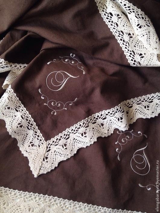 Текстиль, ковры ручной работы. Ярмарка Мастеров - ручная работа. Купить Скатерть с Вышивкой - ШОКОЛАД с льняным кружевом. Handmade. Коричневый