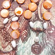 Украшения ручной работы. Ярмарка Мастеров - ручная работа Колье с перламутром, кораллом, жемчугом