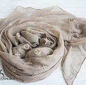 """Шелковый палантин  из ткани Louis Vuitton """"Monogram"""" кофейный"""