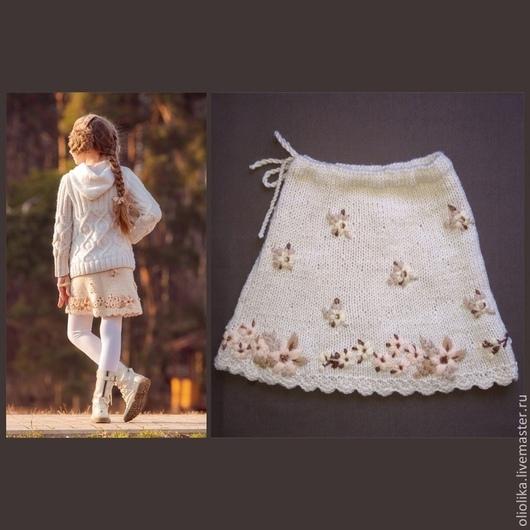 Одежда для девочек, ручной работы. Ярмарка Мастеров - ручная работа. Купить Юбка для девочки 6-10 л. вязаная вышитая. Handmade.