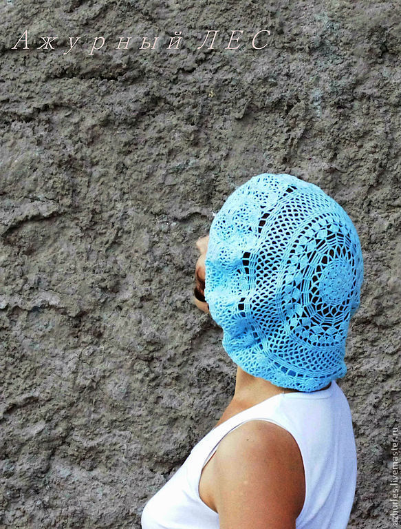 Berets handmade. Livemaster - handmade. Buy Summer openwork surround takes (soft blue).White, summer accessory, fishnet takes