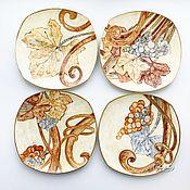 Посуда handmade. Livemaster - original item Painted porcelain Plates on the wall Grapes 4 PCs. Handmade.