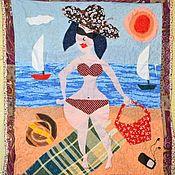 """Картины и панно ручной работы. Ярмарка Мастеров - ручная работа Лоскутное панно """"На пляже"""". Handmade."""
