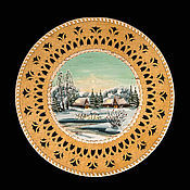 Посуда handmade. Livemaster - original item Plate from clay on the wall. wall plate. painting on birch bark. Handmade.