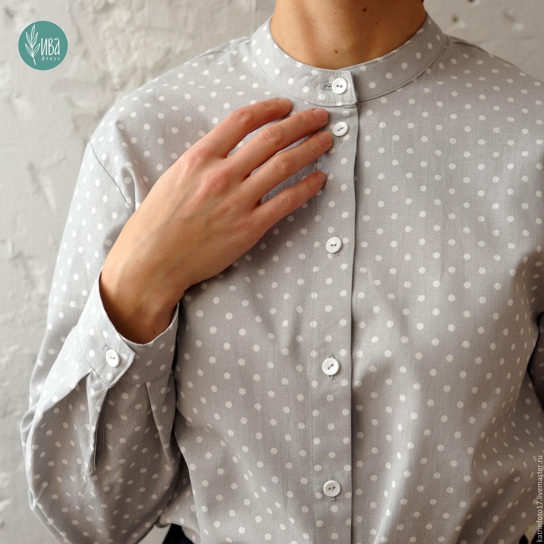 Блузка серая в горох купить