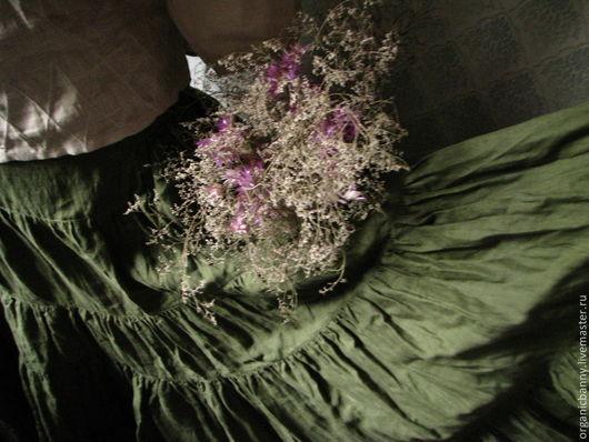 """Юбки ручной работы. Ярмарка Мастеров - ручная работа. Купить Льняная юбка """"Лес и мох"""". Заказать юбку.. Handmade."""