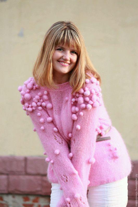Кофты и свитера ручной работы. Ярмарка Мастеров - ручная работа. Купить Розовая фантазия. Handmade. Розовый, вязаный джемпер