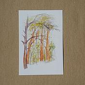 Открытки ручной работы. Ярмарка Мастеров - ручная работа сосновый лес. Handmade.