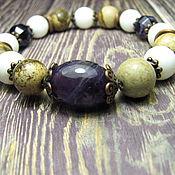 Украшения handmade. Livemaster - original item Bracelet with amethyst, white agate, jasper