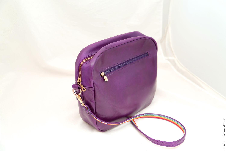 Handbags handmade. Livemaster - handmade. Buy Handbag purple leather crossbody art. 337.Purple, purple handbag, sparkling bag