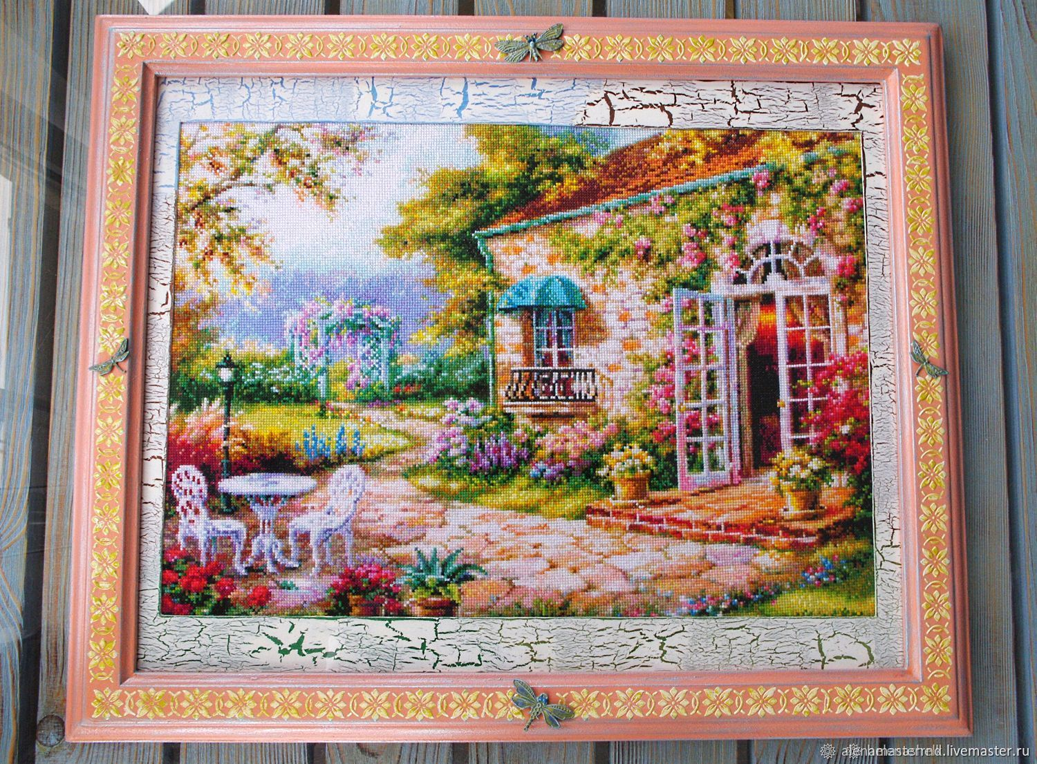 'Blooming garden,cozy home.' Cross stitch, paintings, Pictures, Rostov-on-Don,  Фото №1