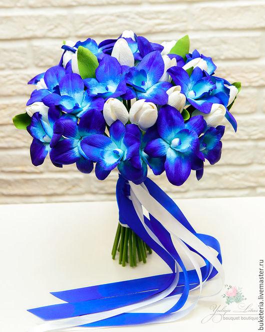 Букеты ручной работы. Ярмарка Мастеров - ручная работа. Купить Букет невесты из полимерной глины с синими орхидеями. Handmade.