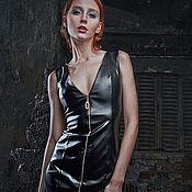 Одежда ручной работы. Ярмарка Мастеров - ручная работа Кожаное платье на молнии 012. Handmade.