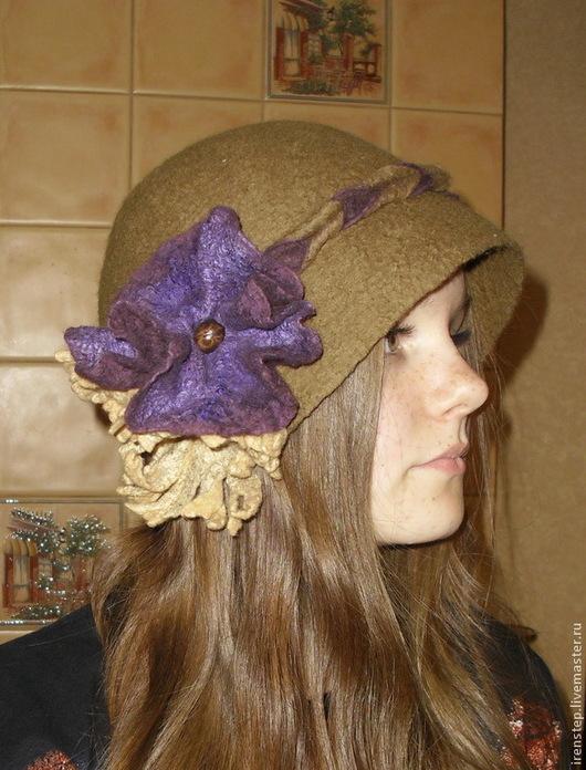 """Шляпы ручной работы. Ярмарка Мастеров - ручная работа. Купить Шляпка валяная """"Этюд"""". Handmade. Хаки, шляпка женская"""