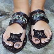 """Обувь ручной работы. Ярмарка Мастеров - ручная работа Кожаные сандалии """"Crazy Green Hmong"""". Handmade."""