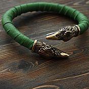 Украшения handmade. Livemaster - original item Leather bracelets - Raven. Handmade.