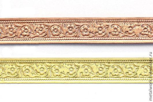 Для украшений ручной работы. Ярмарка Мастеров - ручная работа. Купить Лента (медная, латунная) текстурная с орнаментом 6. Handmade.