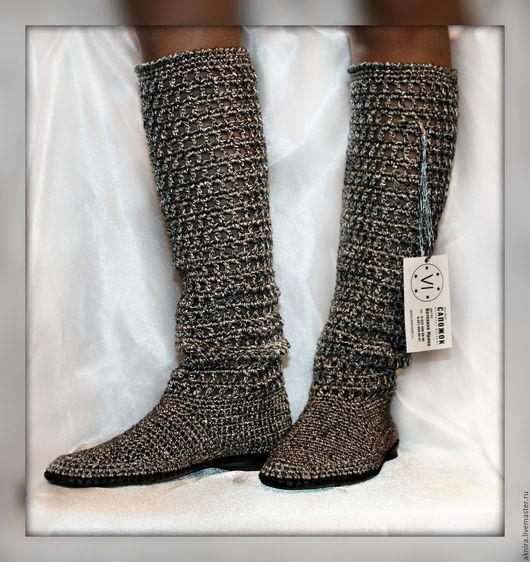 Обувь ручной работы. Ярмарка Мастеров - ручная работа. Купить сапоги летние женские вязанные крючком Обувь для улицы Металлик. Handmade.