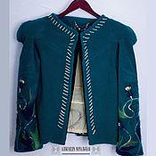 Пальто ручной работы. Ярмарка Мастеров - ручная работа Пальто, полупальто из кашемира зелёное с декором. Handmade.