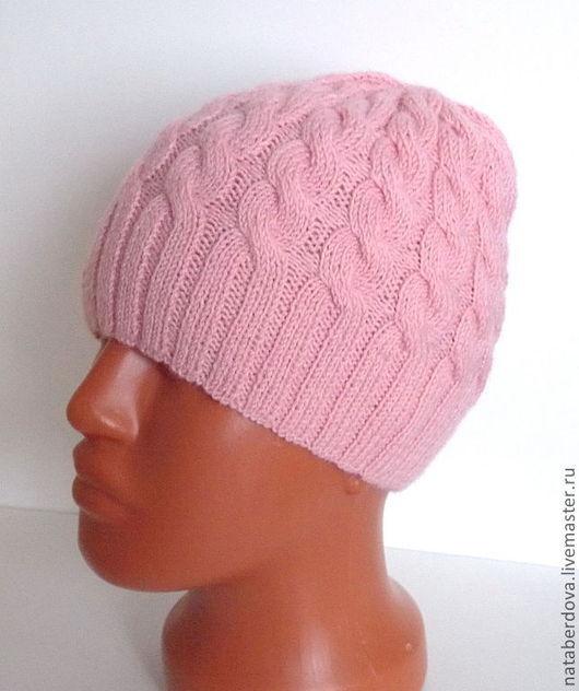 """Шапки ручной работы. Ярмарка Мастеров - ручная работа. Купить Шапка вязаная """"Косы"""". Handmade. Бледно-розовый, шапочка для девочки"""