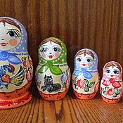 Русский стиль handmade. Livemaster - original item Matryoshka 5 (Gorodetskaya Rospis). Handmade.