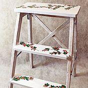 Табуреты ручной работы. Ярмарка Мастеров - ручная работа Белая высокая стремянка с барбарисом. Handmade.