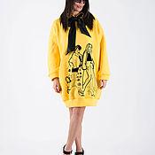 Одежда handmade. Livemaster - original item Yellow tunic dress with black print - DR0405W3. Handmade.