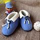 """Обувь ручной работы. Тапочки детские валяные синие """"Для милого мальчика"""". Алла Халайджи (Ahalay). Интернет-магазин Ярмарка Мастеров."""