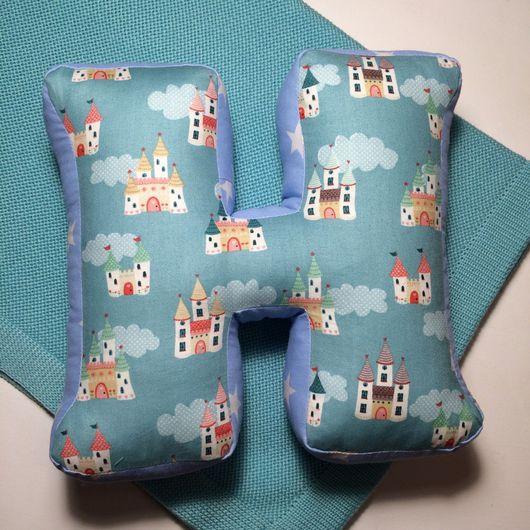 Детская ручной работы. Ярмарка Мастеров - ручная работа. Купить Буква подушка. Handmade. Тёмно-бирюзовый, буква из ткани