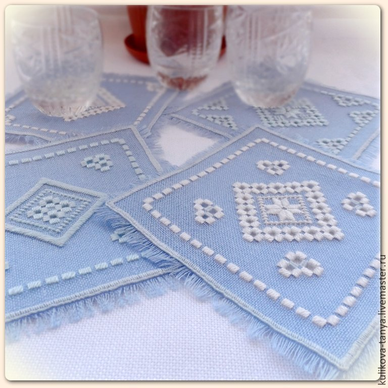 Napkins coasters with embroidery Table setting Cozy kitchen