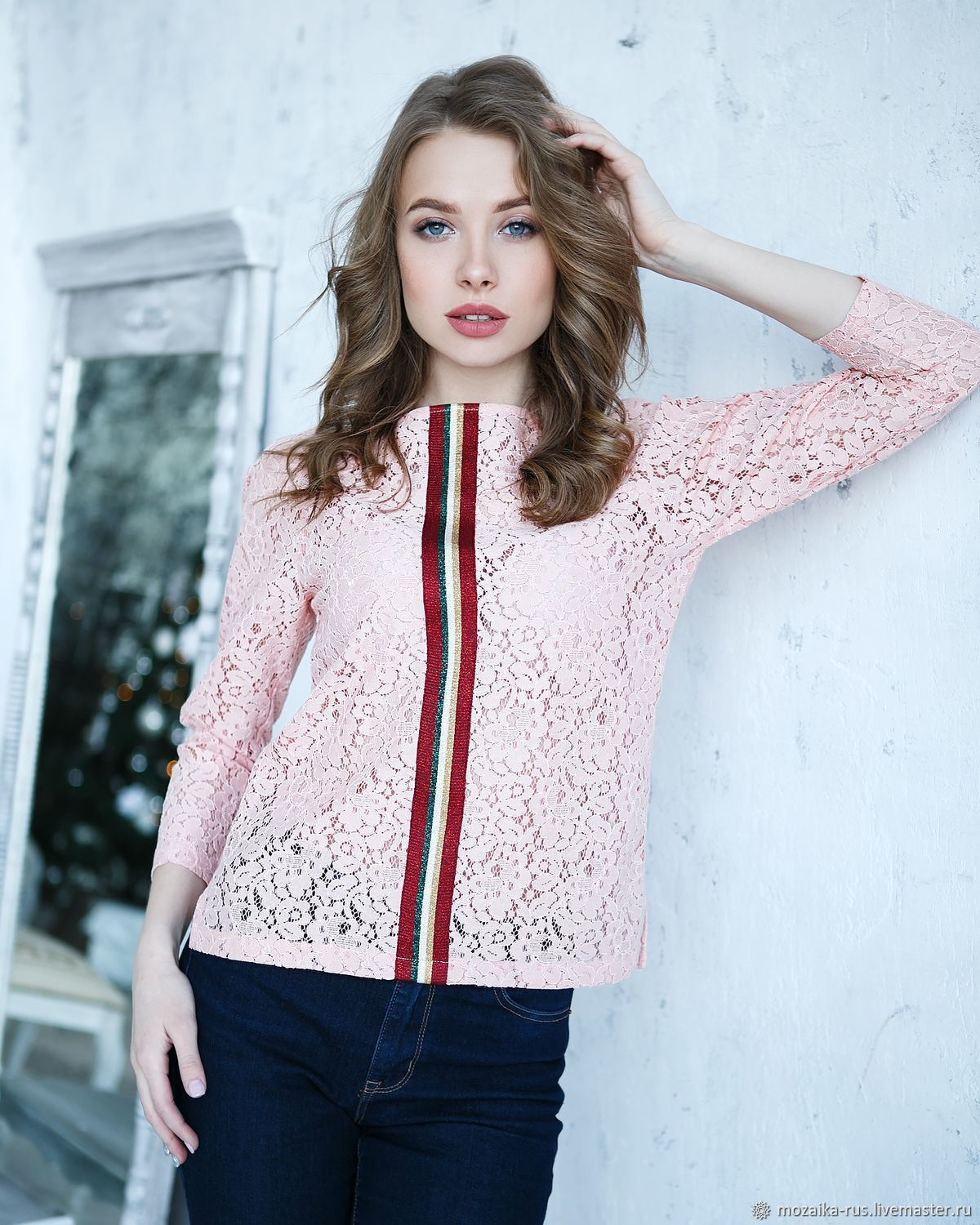 Pink lace Sport-Chic jumper, pink openwork lace blouse, Jumpers, Novosibirsk,  Фото №1