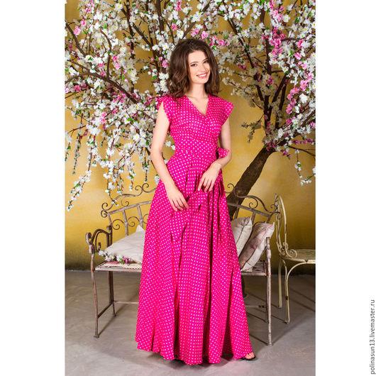 Платья ручной работы. Ярмарка Мастеров - ручная работа. Купить Платье Сирена pink. Handmade. Фуксия, платье в горошек