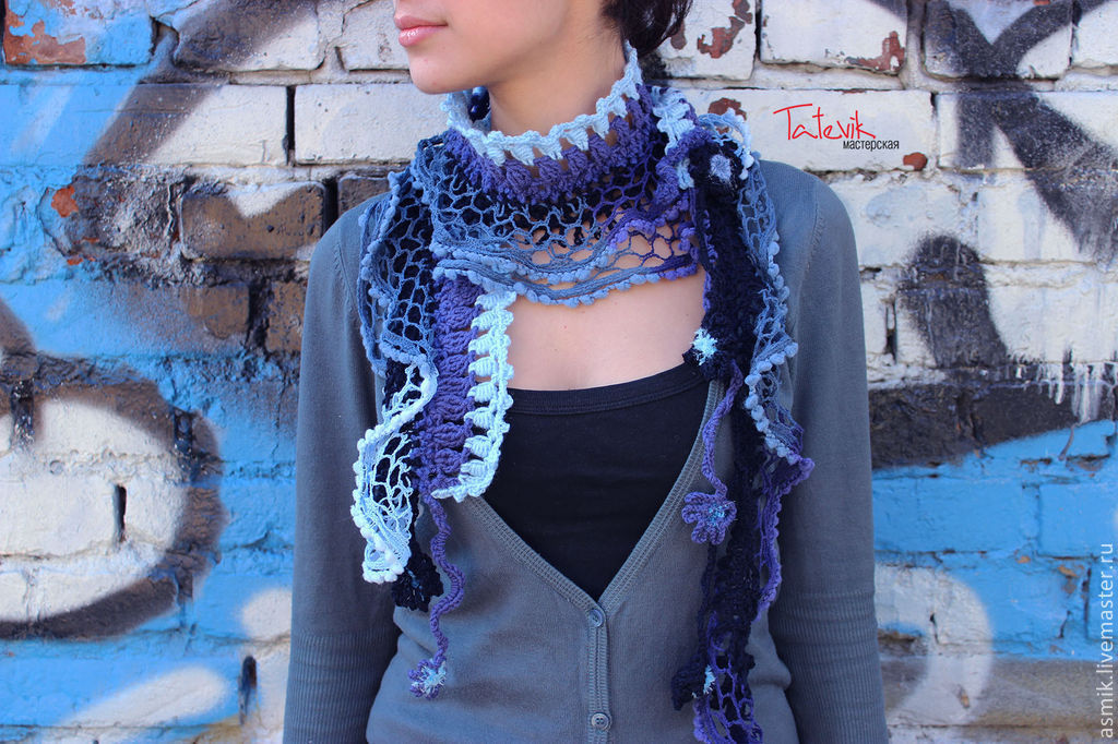 """Scarf knitted """"jeans color"""" boho style, Scarves, Moscow,  Фото №1"""