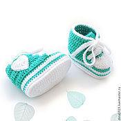 Работы для детей, handmade. Livemaster - original item booties shoes baby keiki knitted, turquoise. Handmade.