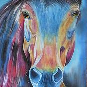 """Картины и панно ручной работы. Ярмарка Мастеров - ручная работа Картина на шелке """"Конь"""".. Handmade."""