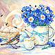 """Натюрморт ручной работы. Ярмарка Мастеров - ручная работа. Купить Шебби картина """"Васильки и варакушка"""" синий белый кремовый прованс. Handmade."""