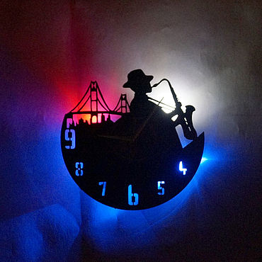 For home and interior handmade. Livemaster - original item Wall clock with LED backlight from jazz vinyl record. Handmade.