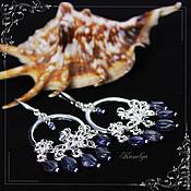 Украшения handmade. Livemaster - original item Earrings Iolite / garnet / Labrador Fialka. Handmade.