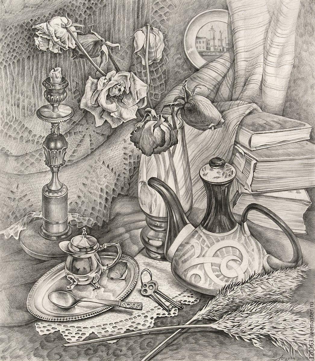 """Натюрморт ручной работы. Ярмарка Мастеров - ручная работа. Купить """"Натюрморт с розами"""". Handmade. Карандаш, на память, картина с цветами"""