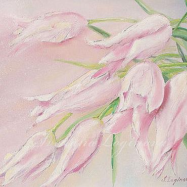 Картины и панно ручной работы. Ярмарка Мастеров - ручная работа Нежные тюльпаны-холст, масло. Handmade.
