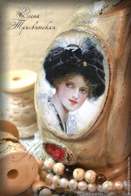 """Ваза стеклянная из серии """"Девушки Фишера"""". Декупаж, винтаж, бежевый"""