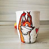 Посуда handmade. Livemaster - original item Fox and rabbit tea mug. Hand painted. Gift. Handmade.