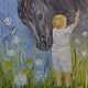 """Животные ручной работы. Ярмарка Мастеров - ручная работа. Купить картина маслом """"Нежность"""". Handmade. Голубой, лошадка, ребенок, интерьер"""