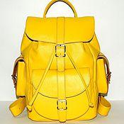 """Сумки и аксессуары handmade. Livemaster - original item Желтый кожаный рюкзак """"Летта"""". Handmade."""