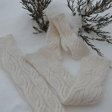 Аксессуары handmade. Livemaster - original item Set downy leg Warmers,mittens and mitts,.. Handmade.