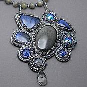 handmade. Livemaster - original item Beaded pendant with Labradors, obsidian and Swarovski crystals. Handmade.